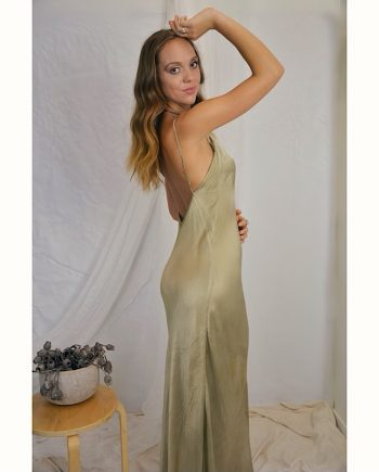 Low back with cowl neck silk maxi dress
