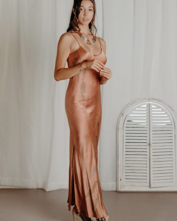 Silk Maxi Dress – V Neck with Straight Back