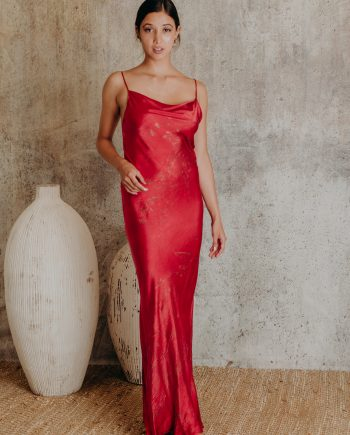 Silk Maxi Dress – Low Back with Cowl Neck